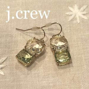 j crew drop earrings. clear+pale green gemstone